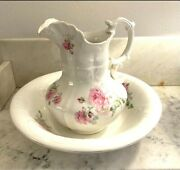 Revere China Antique C1894-1908 Wash Stand Pottery Basin And Pitcher Set Vhtf