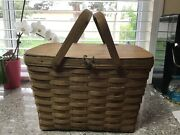 Price Cut 1984 Signed Longaberger Picnic Basket Large With Flip Lid Attached