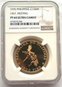 Philippines 1976 I.m.f. Meeting 1500 Pesos Ngc Gold Coin,proof