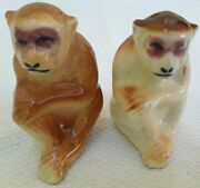 Occupied Japan Salt And Pepper Shakers Monkeys Retro Kitchen Collectible Vgc