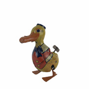 Vintage 1930s J. Chein Key Wind Duck Tin Lithographed Easter Walking Toy 3-1/2