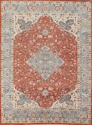 Vegetable Dye Geometric Heriz Serapi Oriental Area Rug Wool Hand-knotted 8and039x10and039