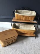 Lot Of Longaberger Baskets, Recipe Box And Two Tiered Iron And Wood Stand