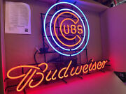 48 Chicago Cubs Budweiser Neon Beer Sign Light Huge Rare New Old Stock