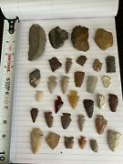 Wyoming Vintage American Indian Assorted Arrowhead Stone Tool Lot Of 32 Pieces