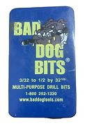 Bad Dog Bits Multi-purpose Drill Bits 3/32 To 1/2 Inch By 32nds In Metal Case