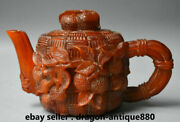 9.2 Qianlong Dynasty Old Chinese Ox Horn Lychee Grape Handle Teapot Teakettle