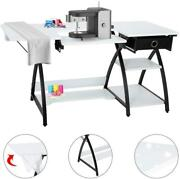 57-inch Sewing Craft Table Multifunctional Computer Desk With Storage Drawer
