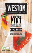 Weston 6-by-10-inch Vacuum-sealer Food Bags, 100 Count Pint 100 Qty 6x10