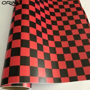 Red Black Checkered Flag Decal Camouflage Vinyl Wrap Racing Motorcycle Bike Car✅