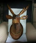 6 Point Buck Deer Head Hand Carved Wood By C.smith Blue Ribbon Carver App. 28 T