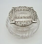 Fantastic Sterling Silver And Cut Glass Abp Powder Jar Exc Quality