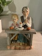 Vintage Norleans Porcelain Old Woman And Child Praying Figurine Japan Rare
