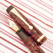 Vintage Parker Victory Mki Red Hatched Candy-striped Button-fil Fountain Pen