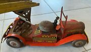 Vintage Uk Tin Fire Truck Circa 1930 With Key Wind Up Mechanism And Bell