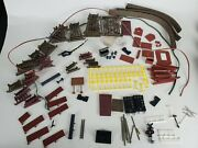Tyco Lot Vintage Model Train Parts Set Signs Track Screw Track Fence Horn As Is