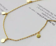 925 Sterling Silver Gold Plated Necklace With Little Round Disks Or Coins Charms