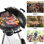Cusimax Charcoal Grill Portable Bbq Kettle 22.5 In, Outdoor Grillsandsmokers,black