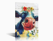 Colourful Cow Framed Wall Art Painting Home Decor-gift For Friends/family 12x18