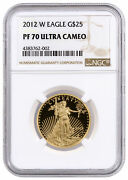 2012 W 1/2 Oz American Gold Eagle Proof 25 Ngc Pf70 Uc Brown Label