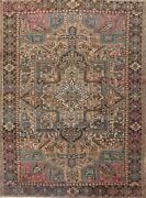 Antique Geometric Traditional Heriz Area Rug Wool Hand-knotted Dining Room 9x11