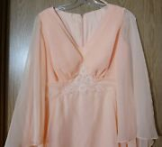 70s Peach Organza Sheer Boho Hippie Wedding Evening Gown Party Prom Dress Small