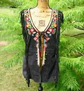 Double D Ranch Ranchwear Apache Junction Black Suede Embroidered Vest Nwt 658 M