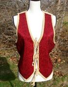 Fab Western Double D Ranch Ranchwear Fully Beaded Various Reds Suede Vest M Euc