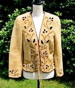 Fab Double D Ranch Ranchwear Suede Cutwork Leaves And Vines Jacket M Nwot