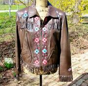 Double D Ranch Ranchwear Brown Beaded Embroidered Jacket M Nwot