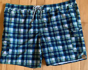 The Foundry 4xl/ 4x Swim Trunks/surf Shorts Navy Plaid Nwt Swimsuit Big And Tall