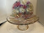 - Mikasa Glass Embossed Colored Fruit And Leaves Centerpiece Bowl And Chipanddip Plate