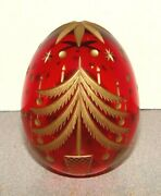 Russian Glass Egg Ruby Red W/ Gold Engraved Christmas Tree