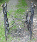 Antique Complete Cast Iron Treadle Sewing Machine Legs Base Frame Stand Vintage