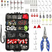 263pcs Fishing Accessories Kit Set With Tackle Box Pliers Jig Hooks Bullet Tools