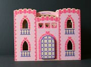 Melissa And Doug Pink Princess Wooden Fold And Go Castle With Furniture