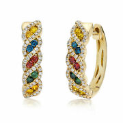 Levian 14k Yellow Gold 3/4 Cttw Multi-colored Diamond Post And Hinge Hoop Earrings