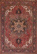 Antique Heriz Red Geometric Area Rug Hand-knotted Oriental Wool Home Decor 6and039x9and039