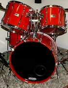 Yamaha Recording Custom 4 Piece Drum Kit Vintage 80and039s Hot Rod Red 22 12 14 16