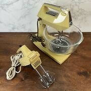 Vintage Sunbeam 12-position Infinite Speed Mixmaster Mixer W/ Bowl And Hand Mixer
