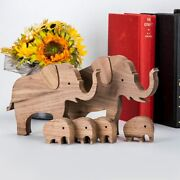 Wooden Elephant Craft Figurines Wood Carving Template Creative Home Office
