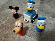 Vintage Disney Little People 2 Donald Duck's, Pluto, Mickey Mouse And Wood Trailer