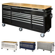 Husky Tool Chest Mobile Rolling Garage Workbench W/ Solid Wood Top 72 In Storage