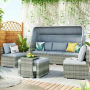 5pcs Sectional Patio Rattan Pe Wicker Sofa Daybed Furniture W/ Canopyandside Table