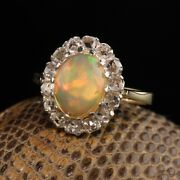 Vintage Estate 14k Yellow Gold Opal And Rose Cut Diamond Engagement Ring