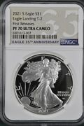 2021 S Proof Silver Eagle Type 2 Eagle Ngc Pf 70 First Releases