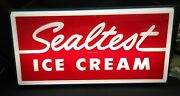 Sealtest Ice Cream 2 Sided Plastic Faced Light Up Sign With Metal Body Unused