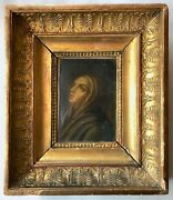 1700s Oil On Canvas Painting In Carved Wood Gilded Frame, Praying Woman/saint