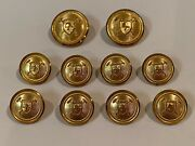 Set Of 10 Vintage Jacket Waterbury Ct. U.s.a. Gold Color Buttons