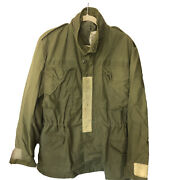 Vintage Nato Us Military Cold Weather Hooded Green Field Coat Jacket Medium